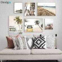 Cartazes e Verão Impressões de Viagem Do Sol Tropical Coco Mar Praia Prancha Carro Pintura Da Lona Arte Da Parede Imagem Seascape