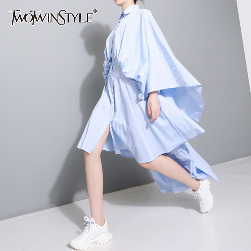 TWOTWINSTYLE Backless Shirt Dress Female Tunic High Waist Batwing Sleeve Draped Asymmetrical Dresses 2020 Spring Fashion Sexy