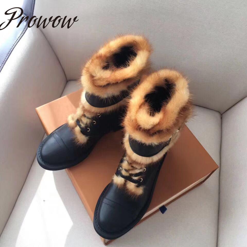 Prowow 새로운 정품 가죽 밍크 모피 레이스 발목 부츠 라운드 발가락 낮은 뒤꿈치 두꺼운 뒤꿈치 편안한 겨울 따뜻한 부츠 신발 여성-에서앵클 부츠부터 신발 의  그룹 1