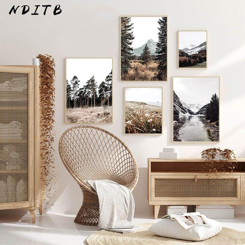 Arte da parede imagem da lona pintura outono floresta natureza paisagem cartaz estilo nórdico impressão escandinavo sala de estar decoração
