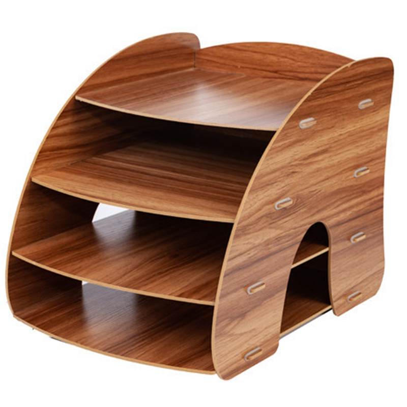 Creative A4 Desktop File Holder Document Storage Box Decorative Office Desk Organizer Wood Office Desk Sets