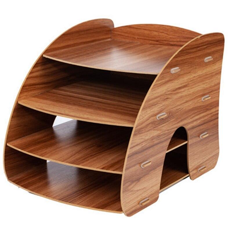 Yaratıcı A4 masaüstü dosya tutucu belge saklama kutusu dekoratif ofis masa düzenleyici ahşap ofis masası setleri - title=