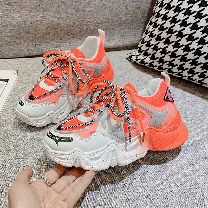 Women's Chunky Sneakers Fashion New Women 2020 Platform Shoes Lace Up Mesh Casual Shoes Womens Female Running Trainers Dad Shoes