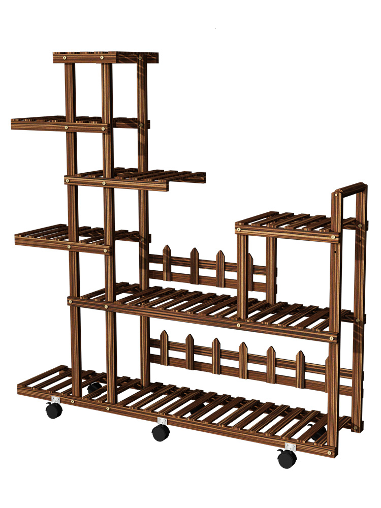 Built-in Rack Belt Round Landing Type Balcony A Living Room Simple And Easy Multi-storey Can Move Meaty Solid Wood Flower Rack