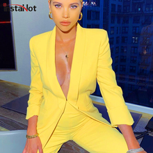 InstaHot Yellow Casual Blazer and High Waist Pants Suit Sets