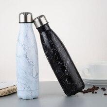مياه الفولاذ غير القابل للصدأ الفولاذ زجاجة فراغ دورق معزول الرياضة الحرارية الباردة الباردة كوب الإبداعية القدح الرخام رئيس كأس 500 مللي
