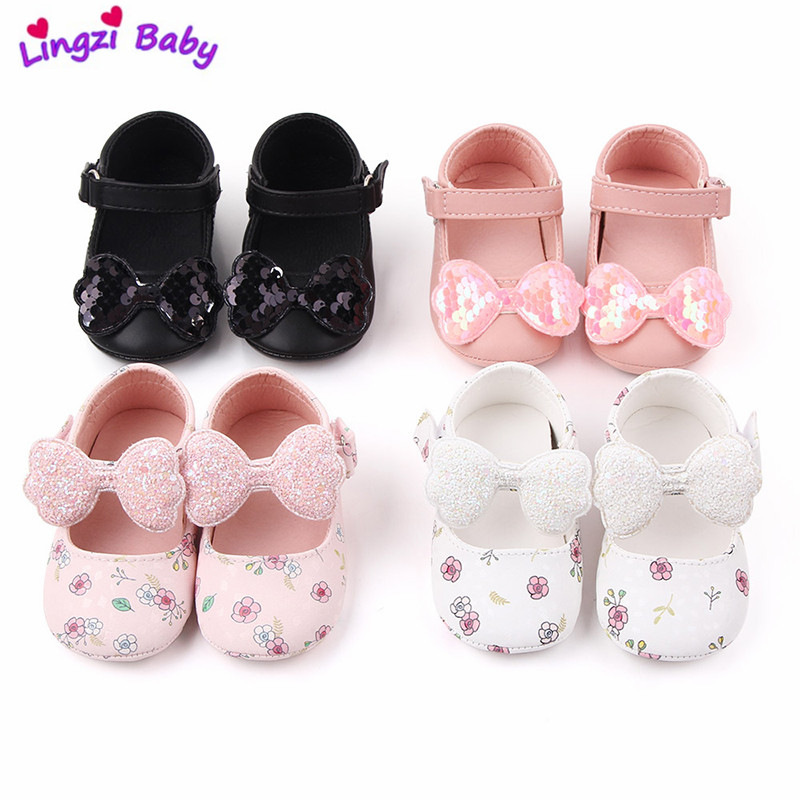 Baby First Walkers Toddler Girl Crib Shoes Newborn Baby Velvet Bowknot Soft Sole Prewalker Sneakers Shiny Solid Shoes 0-18M