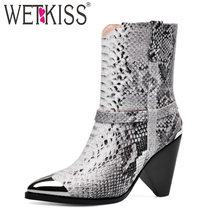WETKISS Sexy Snake Skin Boots Women Metal Western Ankle Boot Female Spike Heels High Shoes Ladies Pointed Toe Leather Shoes(China)