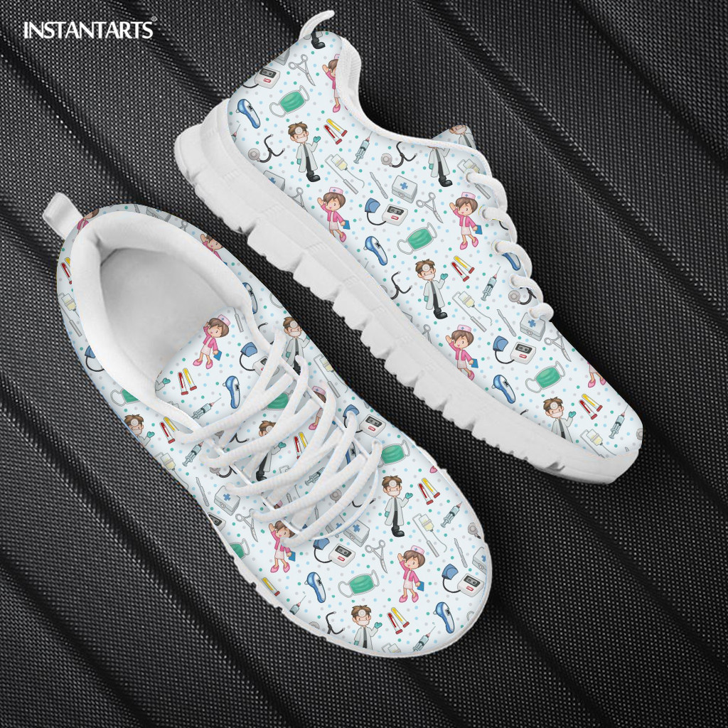 INSTANTARTS Medical Nurse Design Shoes Women Casual Outdoor Footwear Nursing Flats Shoe Brand Customizable Sneakers Light Weight