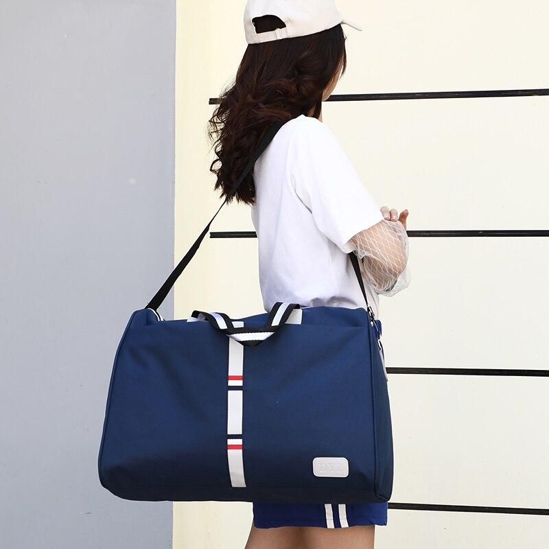 Large Capacity Women Travel Bag Waterproof Stripe Weekend Overnight Duffle Bags Female Hand Luggage Big Bag Packing Cubes