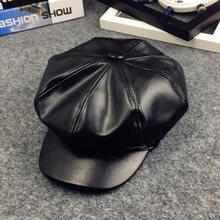 2020PU skóra proste dzieci beret dla eleganckiej pani zima kobiet kapelusze Vintage ośmioboczna Casual boina na jesień, dla dziewczyny Cap 4-11 lat