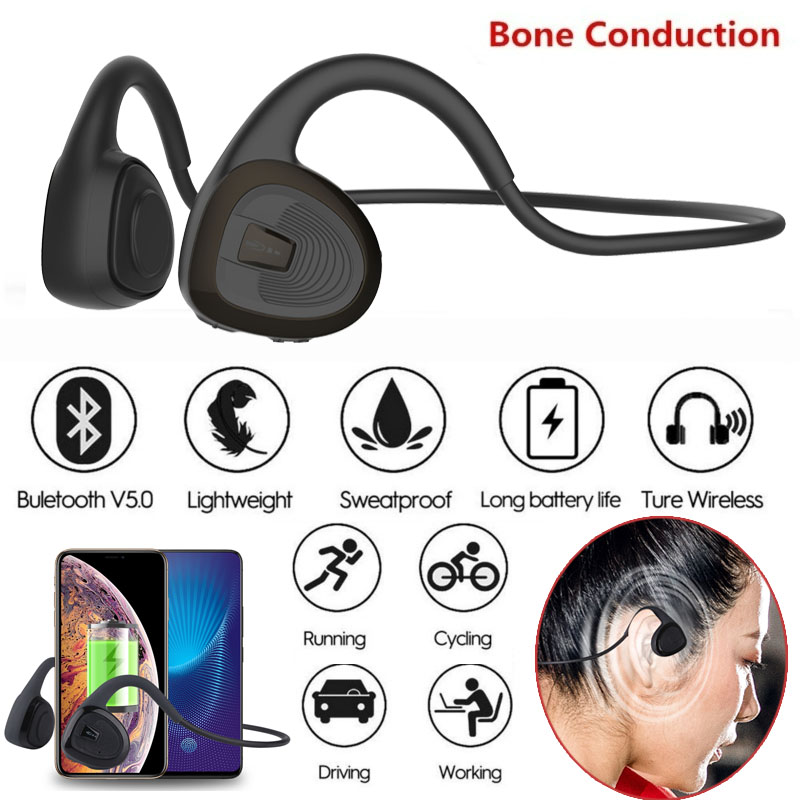R11 Headphones Bluetooth 5.0 Bone Conduction Headsets Wireless Sports earphones Mic Handsfree Support Drop Shipping