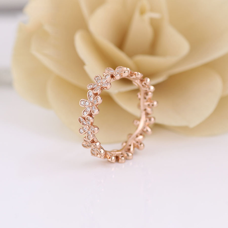 Real 925 Sterling Silver Ring Rose Gold Dazzling Daisy Flower With Crystal Rings For Women Wedding Party Fashion Jewelry