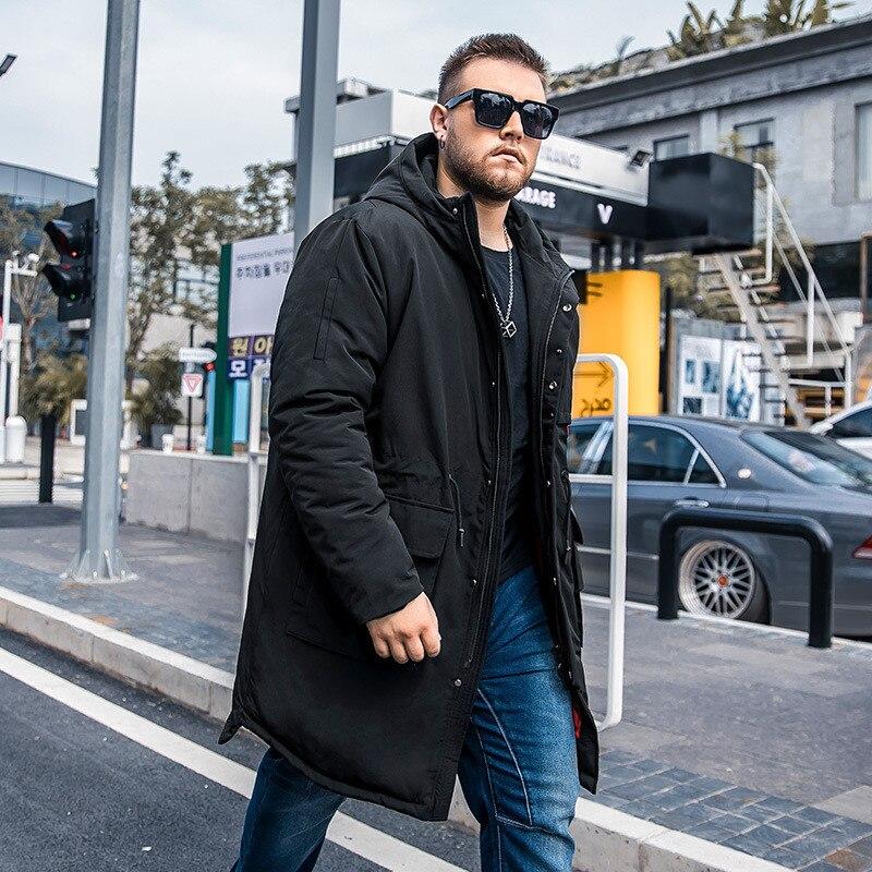 2019 Winter Neue männer Plus größe Lange Baumwolle Mantel Mode Großzügig taille kordelzug Lose Schwarz Baumwolle anzug Mehr größe m 6XL - 2
