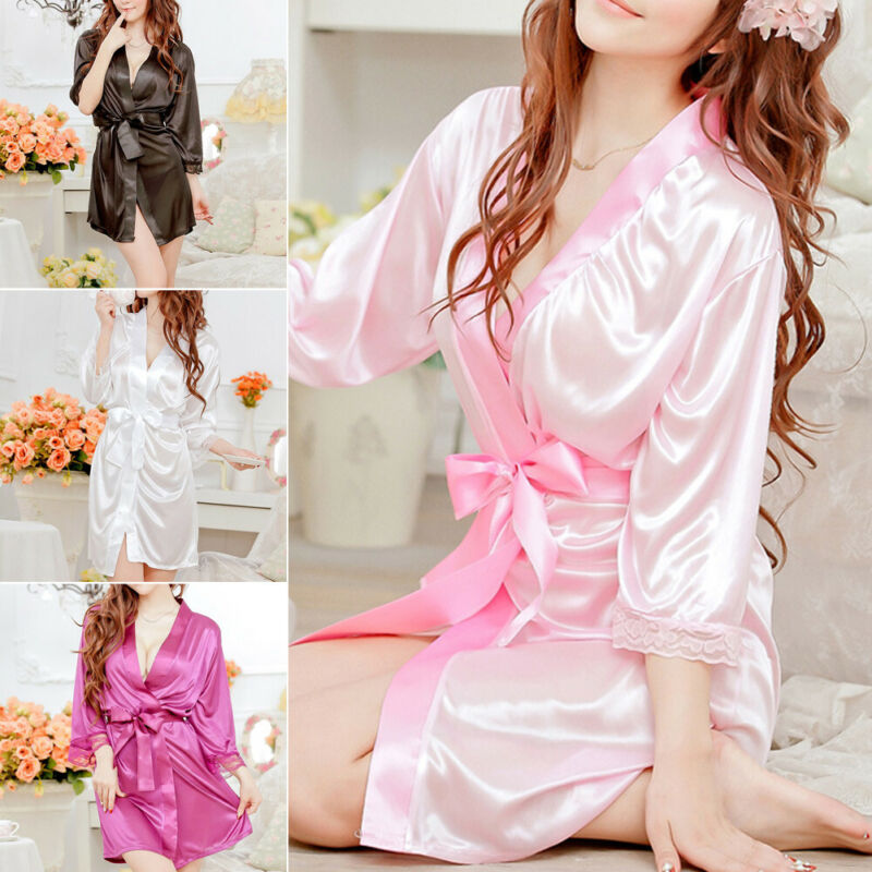 Women Sexy Lingerie Silk Lace Kimono Robe Dress Babydoll Nightdress Sleepwear