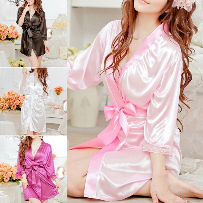 Women Sexy Lingerie Silk Lace Kimono Robe Dress Babydoll Nightdress Sleepwear