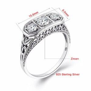 Image 5 - Szjinao יהלומי טבעות נשים זירקון 3 יקרה אבן Massif חן טבעת לנשים לגלף חתונה אמיתי כסף 925 תכשיטים