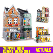 15034 Streetview אבני בניין את קפה הוואנה הניצוץ אופני חנות נעלי חנות דגם הרכבה לבני ילדים צעצועי חג המולד מתנות