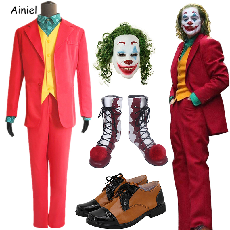 Hot Sale 2020 New Joker Costume Joker Batman Suit Mask Pennywise Boots Cosplay Clown Shoes Halloween Costumes for Adult Kids