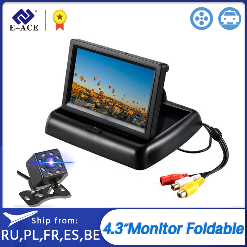 E-ACE Car <font><b>Monitor</b></font> <font><b>4.3</b></font> <font><b>Inch</b></font> Foldable TFT LCD Display Cameras Reverse Camera Parking System for Car Rearview <font><b>Monitors</b></font> NTSC PAL image