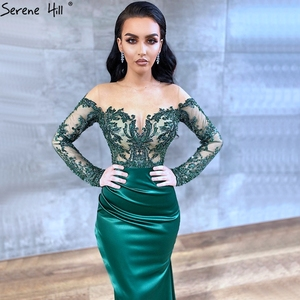 Image 2 - Serene Hill Dubai Green Long Sleeves Sexy Evening Dress 2020 Mermaid Satin Crystal Formal Party Wear Gown Design CLA70343
