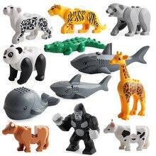 12 개/대 legoing duploed animals series 빅 빌딩 블록 고릴라 타이거 레오파드 모델 피규어 어린이를위한 교육 완구