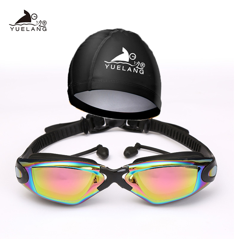 YUELANG Swimming Goggles arena Swimming cap suit Professional Durable Silicone Swimming Goggle Anti-fog Anti-UV Waterproof adult(China)