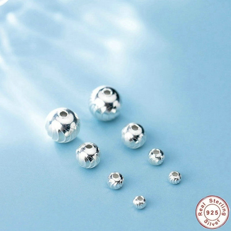 3/4/6/8MM 925 Sterling Silver Round Spacer Beads Suit For Diy Bracelet Necklace Loose Beads Jewelry Findings