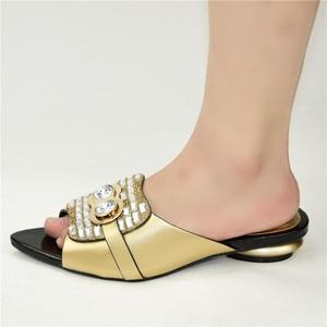 Image 3 - Nowe mody luksusowe buty damskie projektanci nigeryjska na imprezę pompy ślubne niskie obcasy Plus Size sandały damskie na obcasie Slip on Shoes