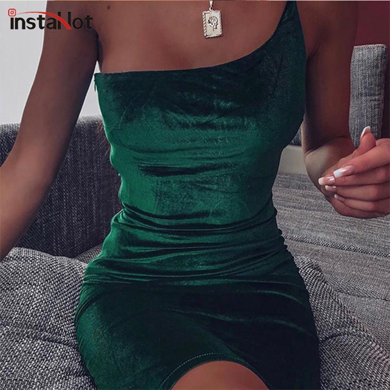 InstaHot Spaghetti Strap One Shoulder Elegant Silm Dress Party Club Sleeveless Velvet Sexy Bodycon Women Summer Midi Dresses