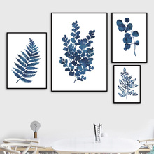 Blue Plant Ginkgo Leaf Tree Wall Art Canvas Painting Nordic Posters And Prints Pictures For Living Room Decor