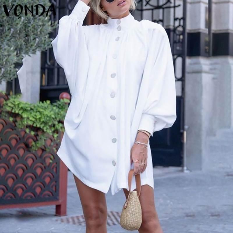 VONDA Women Dress Sexy Lantern Sleeve Shirt Party Dress 2020 Spring Summer Beach Top Office Ladies Sundress Plus Size Tunic 5XL