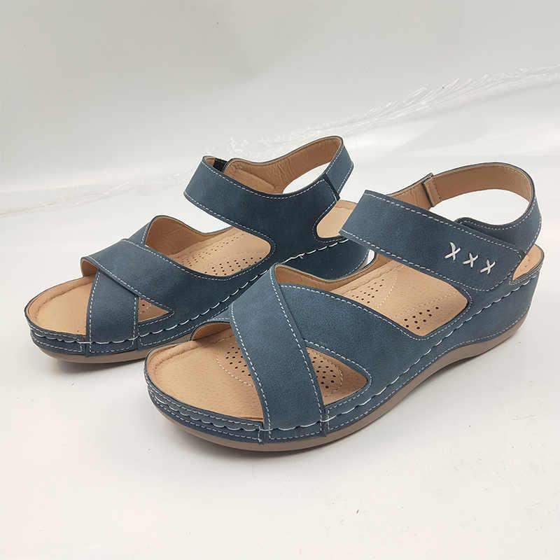 Damskie letnie sandały na koturnie damskie klamra na kostce płaskie buty ze skóry pu kobieta platforma Peep Toe przypadkowi buty damskie 2020 nowe