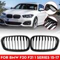 1 пара передний бампер для автомобиля почечные решетки глянцевый черный 1 планка для BMW F20 F21 LCI 5D 3D 1-Series 120i 2015-2017 гоночная решетка