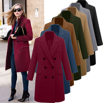 Womens Winter Lapel Wool Coat Trench Jacket Long Overcoat Outwear autumn winter Dropshipping size Leisure Work clothes Selling 1