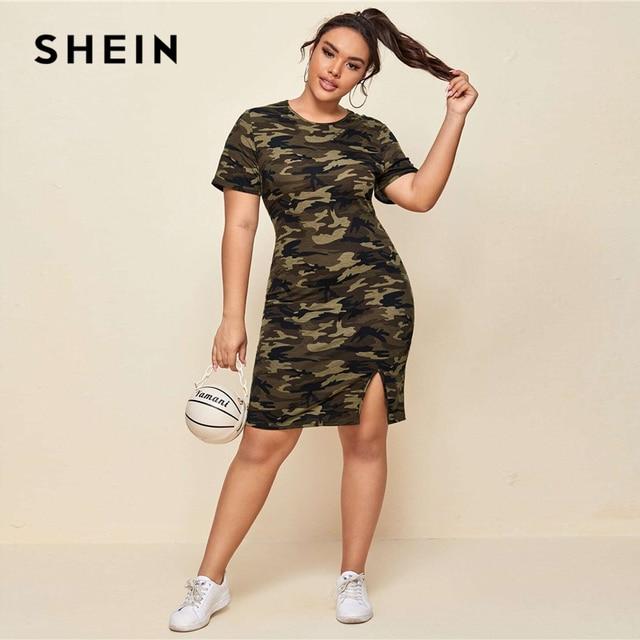 SHEIN Plus Size Multicolor Split Hem Camo Dress Women Summer Casual Straight Round Neck Short Sleeve Fitted Plus Mini Dresses