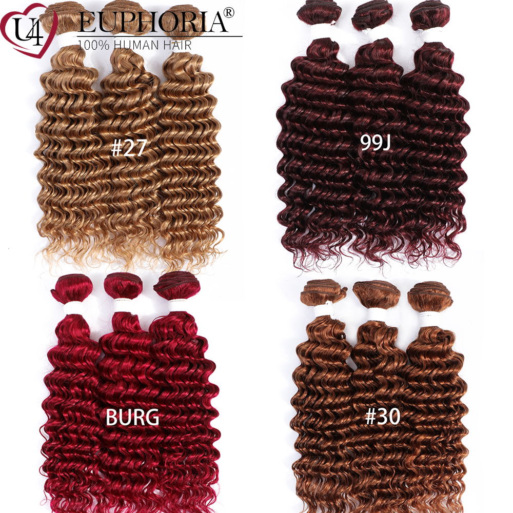 Deep Wave Hair 3/4 Bundles 99J 27/30/33 Blonde Color Brazilian Remy 100% Human Hair Bundles Weaving Weft Pack 1/3/4 Pcs EUPHORIA