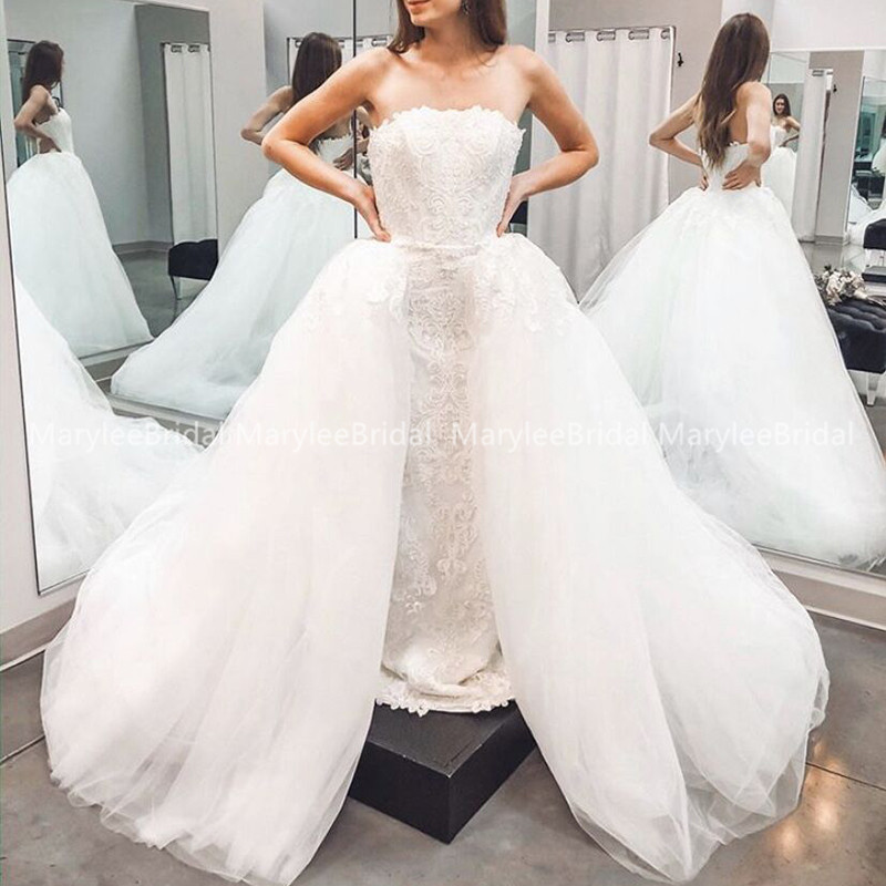 2020 New Boho Wedding Dresses With Detachable Train Charming Lace Bridal Wedding Gowns White Ivory Robe De Mariee Customize