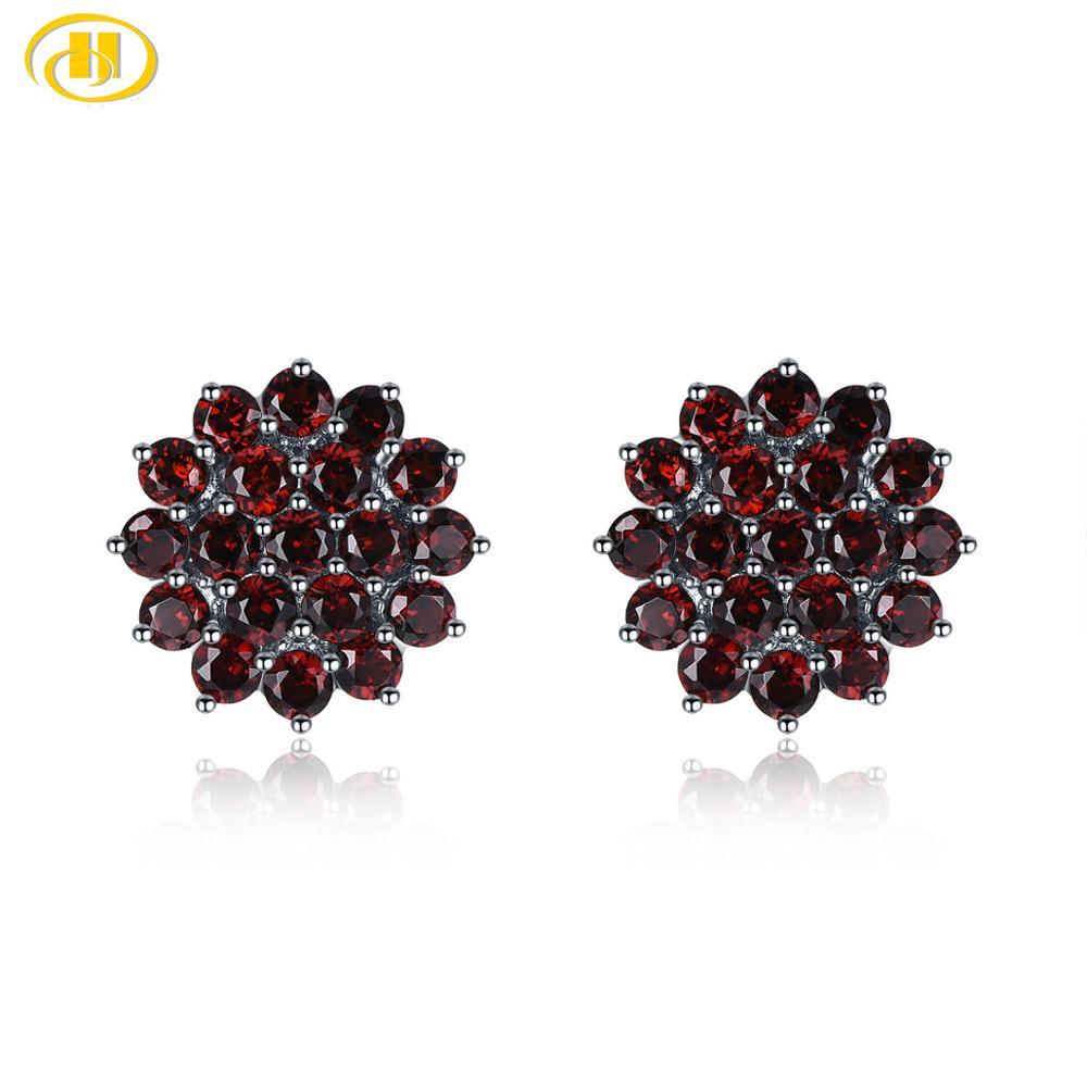 Hutang Garnet Silver Stud Earrings for Women 925 Sterling Silver 3.16ct Natural Red Stone Fine Elegant Gemstone Jewelry Gift