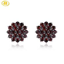 Hutang Garnet Silver Stud Earrings for Women 925 Sterling Silver 3.16ct Natural Red Stone Fine Elegant Gemstone Jewelry Gift hutang stone jewelry natural green turquoise blue topaz pendant solid 925 sterling silver necklace fine jewelry for women gift