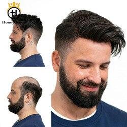 Ultra Dünne Haut Haar Toupet Männer Natürlich Aussehende 100% Europäischen Menschenhaar Spitze & PU Ersatz System Männlichen Perücke Für mann Hombre Remy