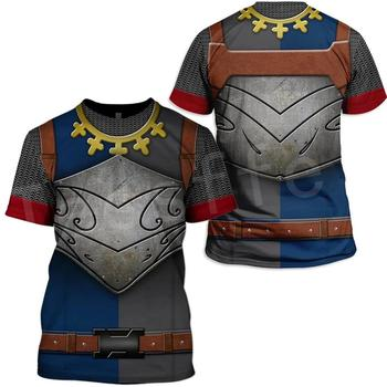 Tessffel cavalier Knights Templar Armor Costume Streetwear Harajuku Unisex 3DPrint Short Sleeve Streetwear T-shirts Men/Women C4 1