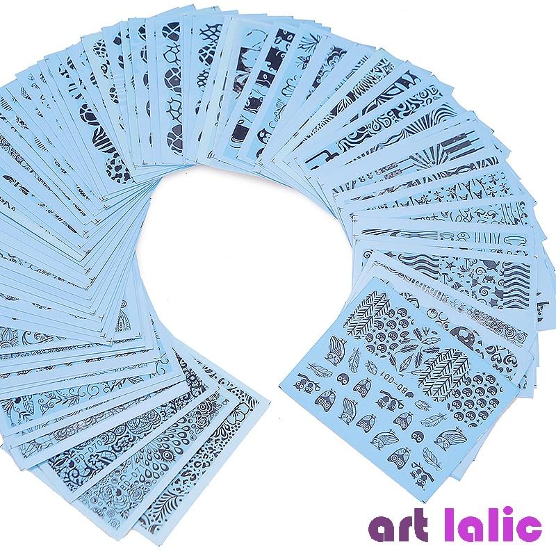 72 листов, наклейки для дизайна ногтей, черная линия, Роза, цветы, Бабочка, Типсы, наклейки для ногтей, татуировки