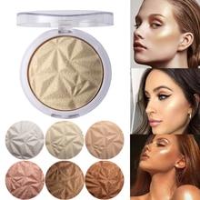 NEW! Beauty Makeup Shimmer Highlighter&Bronzer Stick Diamond Pressed Powder Waterproof Highlight Palette Concealer Brighten Skin цена