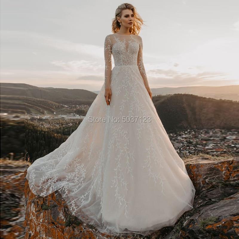 Tulle A Line Long Sleeves Wedding Dresses Vestido De Noiva Scoop Button Illusion Lace Appliques Bridal Gowns