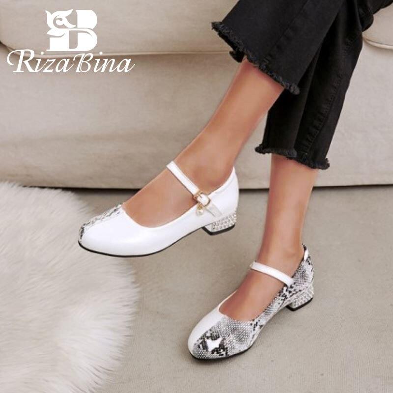 RIZABINA 2020 femmes pompes à bout rond boucle talon épais peau de serpent perle doux chaussures en cuir Pu chaussures pour dames blanc taille 28-43