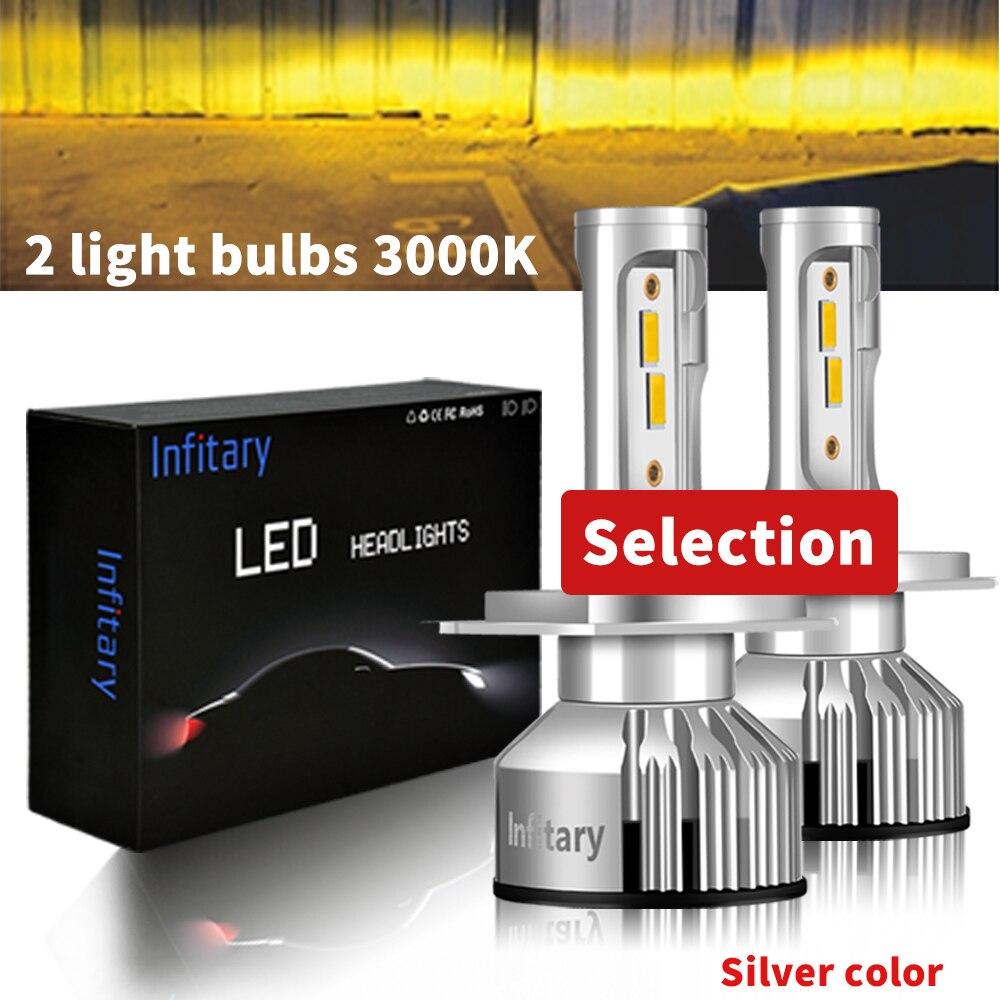 Зэс 1860 чипы автомобилей головной светильник светодиодный H7 H4 Светильник лампы H1 H11 H3 H13 9004 9005 9006 9007 10000LM 12V 3000K 4500K 6500K для автомобильных фар - Испускаемый цвет: 3000k Siliver