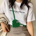 Acrylic Beaded Woven Messenger Bag New Fashion Girl Shoulder Bags Mini Heart-shaped Pack Crossbody Packs Lipstick Package Women