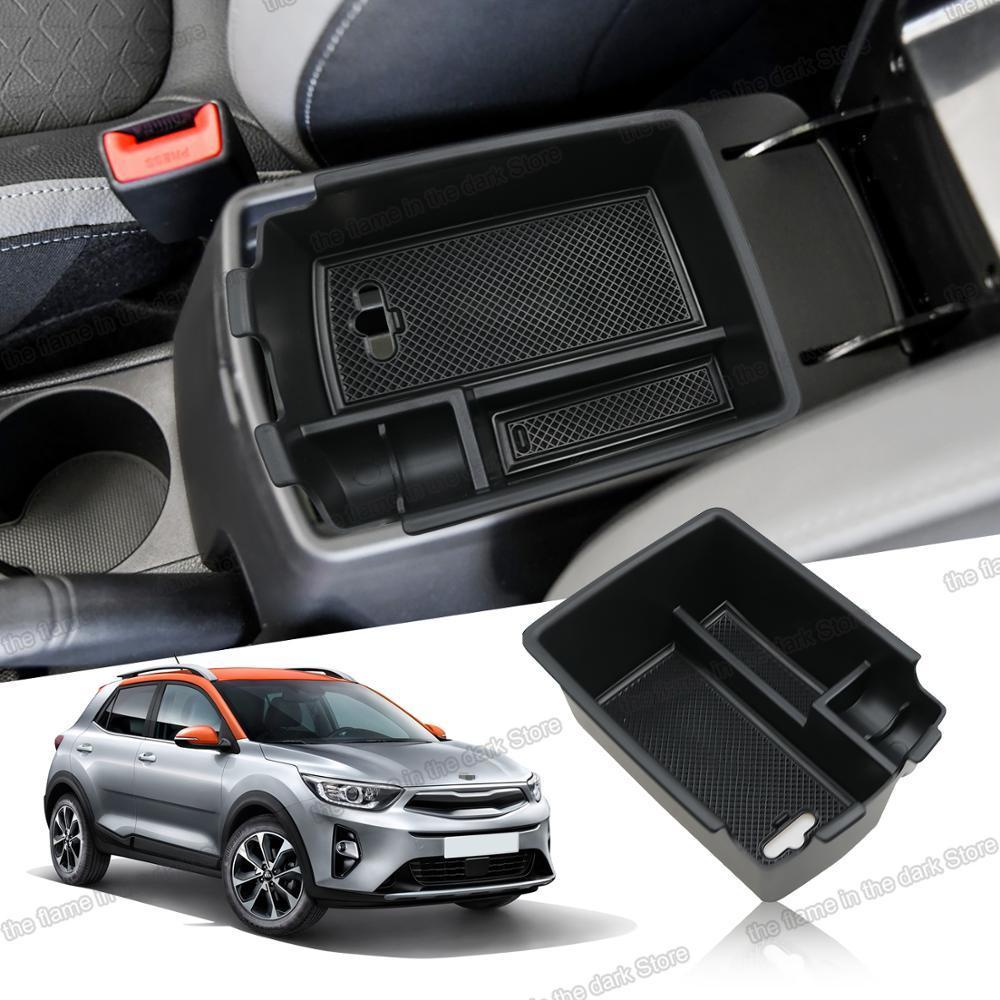 Lsrtw2017 preto abs placa de caixa armazenamento braço do carro para kia stonic 2017 2018 2019 2020 2021 acessórios interiores estilo