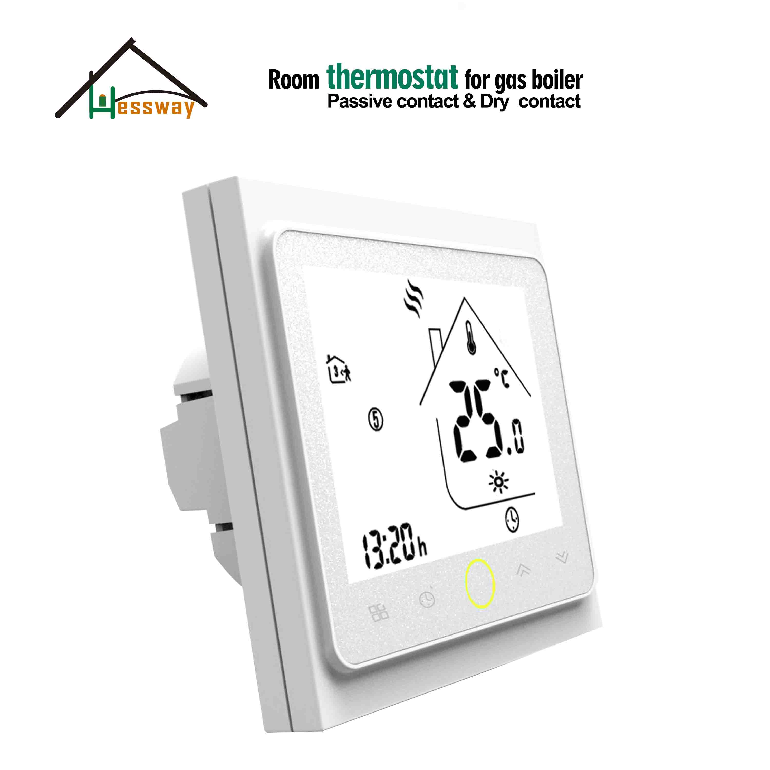 HESSWAY  Weekly Programmable Room Wall Mounted Boiler Heating Controls Thermostat For Dry Contact Relay